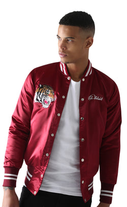 Burgundy Satin Baseball Bomber Jacket