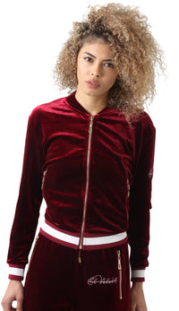 Women's Striped Burgundy Vélvét Tracksuit