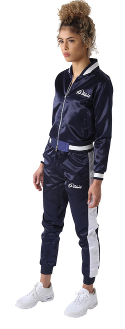Navy Blue Satin Tracksuit