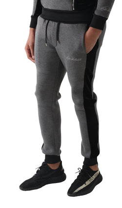 Grey & Black Velour Panel Full Tracksuit