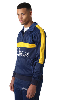 Yellow Panelled Navy Blue Trechic Tracksuit