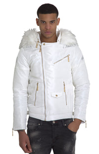White El Vélvét Winter Biker Jacket - Faux