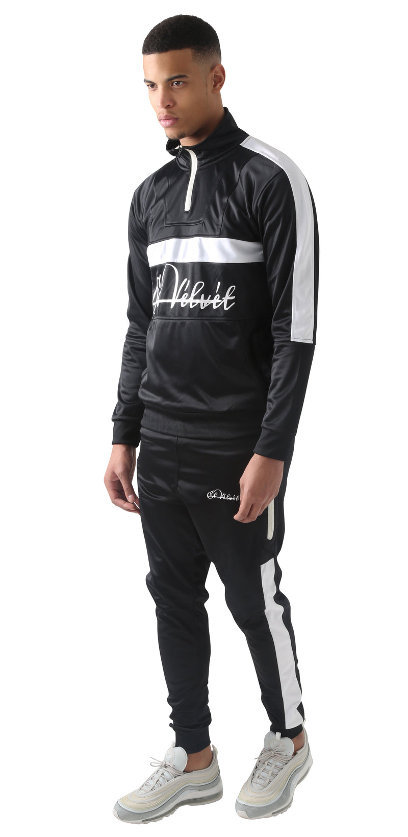 White Panelled black Trechic Tracksuit