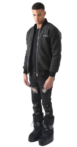 Grey Rudgred Triple Zipper Bomber Jacket