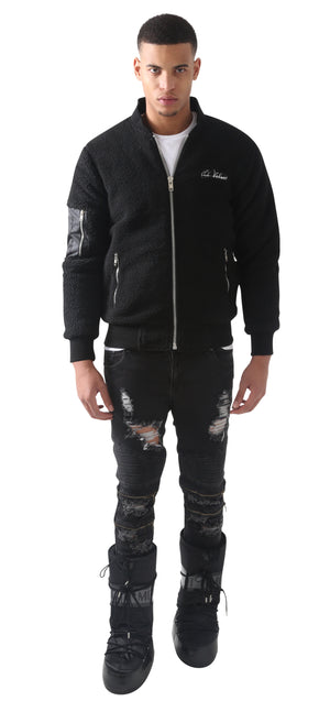 Black Rudgred Triple Zipper Bomber Jacket