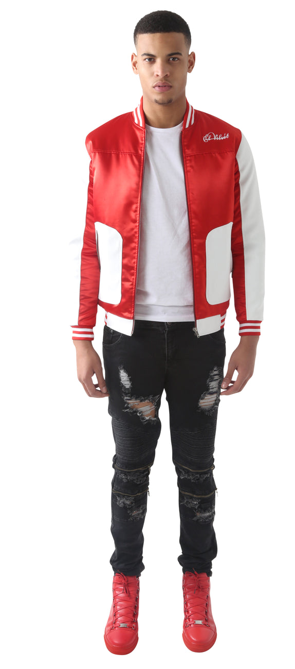 Red Satin FT White Leather baseball Jacket