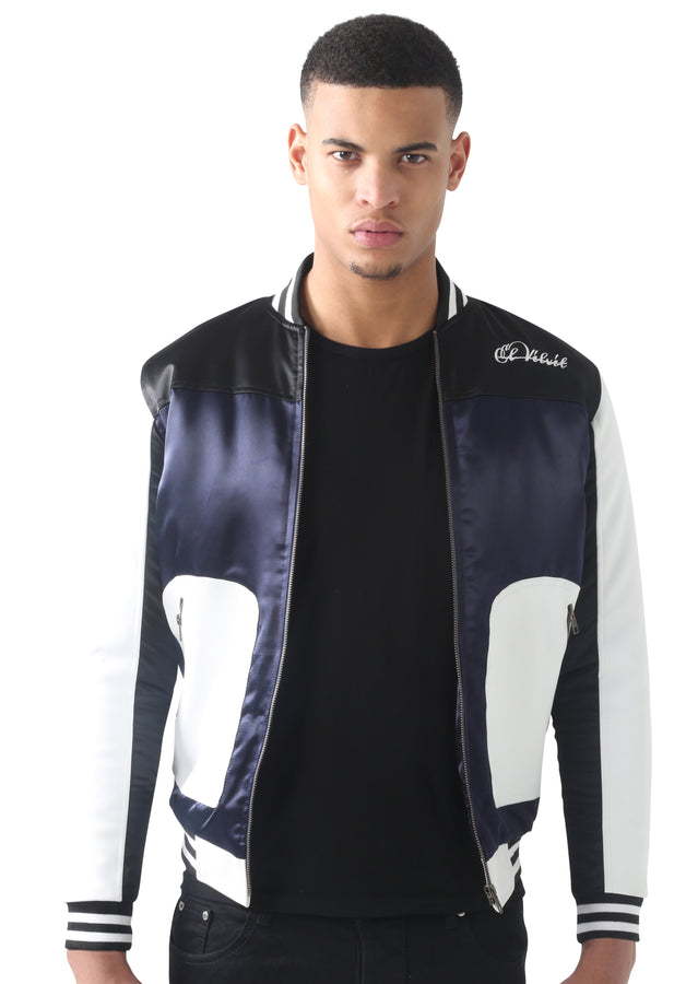 Navy Blue Satin FT white Leather baseball Jacket