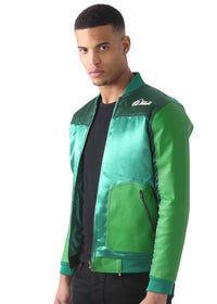 Green Satin FT Green Leather baseball Jacket