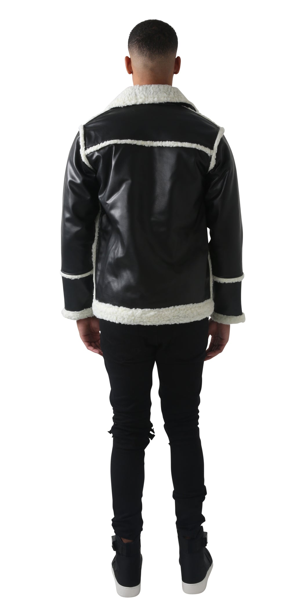 Men black & white Shearling