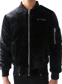 Black Triple Zipper Ranch Fur Bomber Jacket