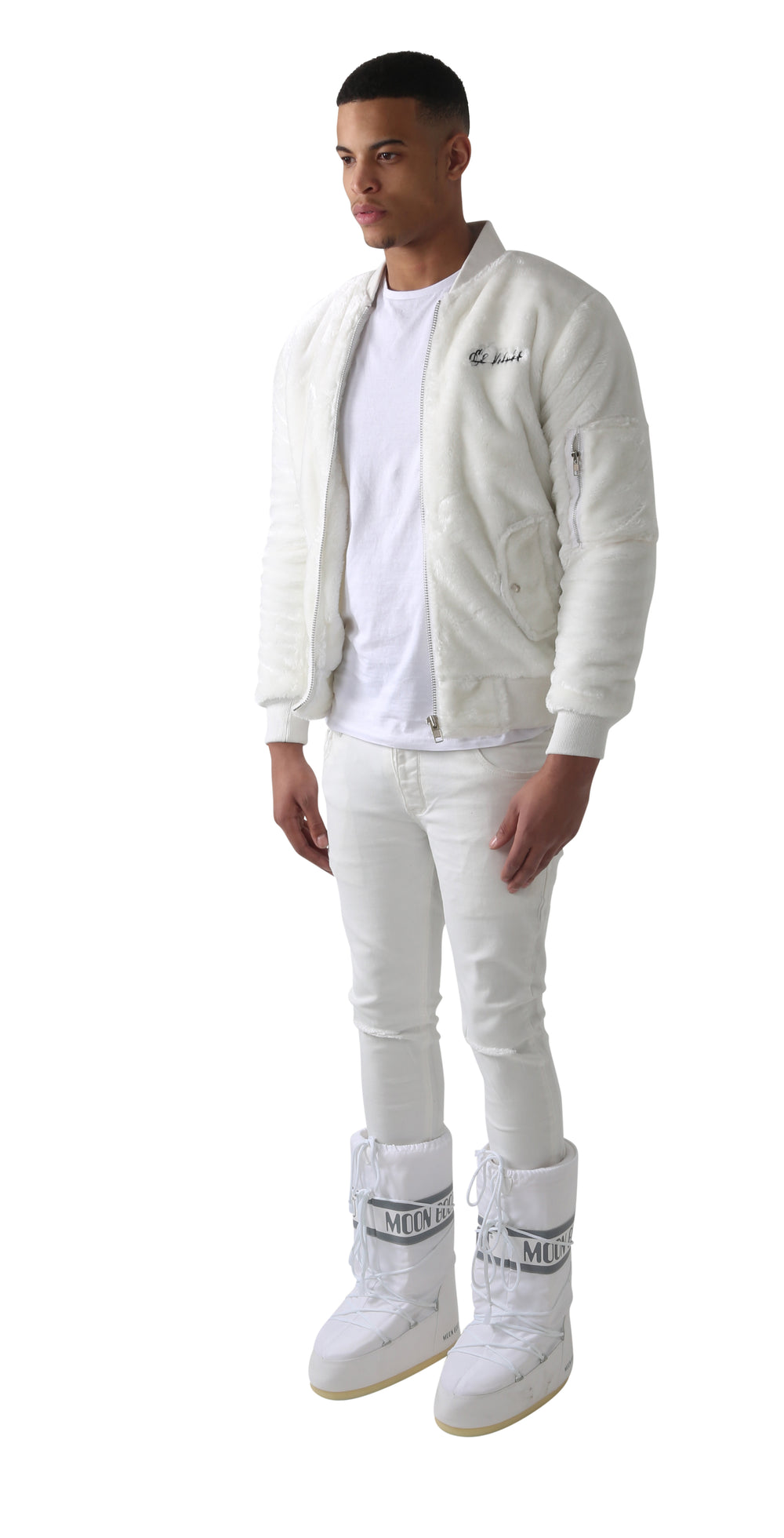 White Triple Zipper Ranch Fur Bomber Jacket