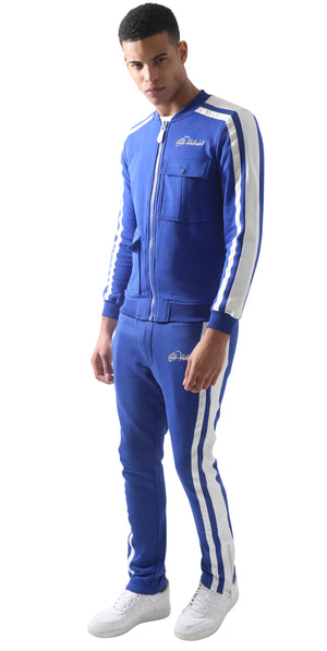 Blue Restro Fleece Striped Tracskuit