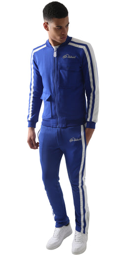 Blue Restro Fleece Striped Tracksuit