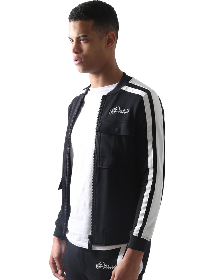 Black Restro Fleece Striped Jacket