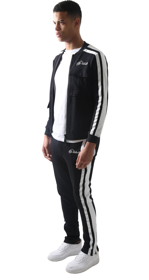 Black Restro Fleece Striped Tracksuit