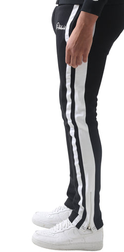 Black Restro Fleece Striped Joggers