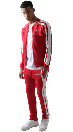 Red Restro Fleece Striped Tracksuit