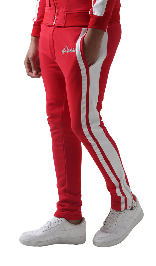 Red Restro Fleece Striped Joggers