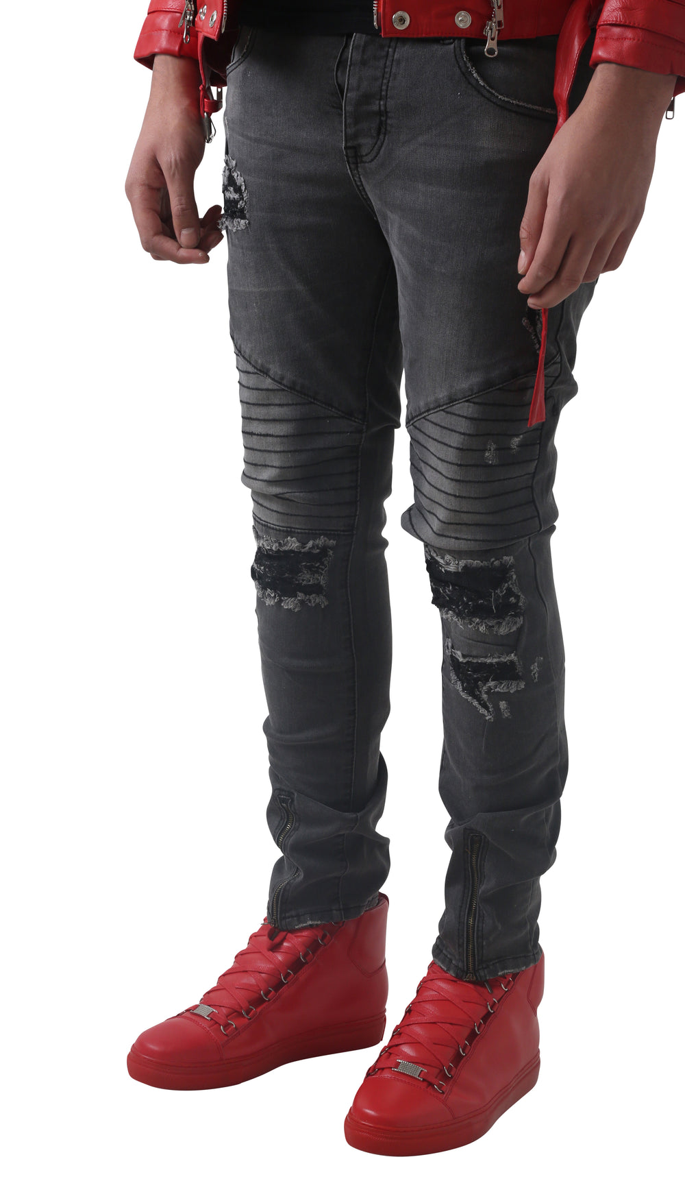 Grey Jane Black threaded Biker Jeans
