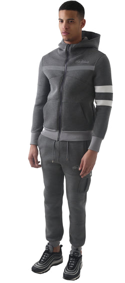 Men Grey Space Cotton with White Stripe Full Tracksuit