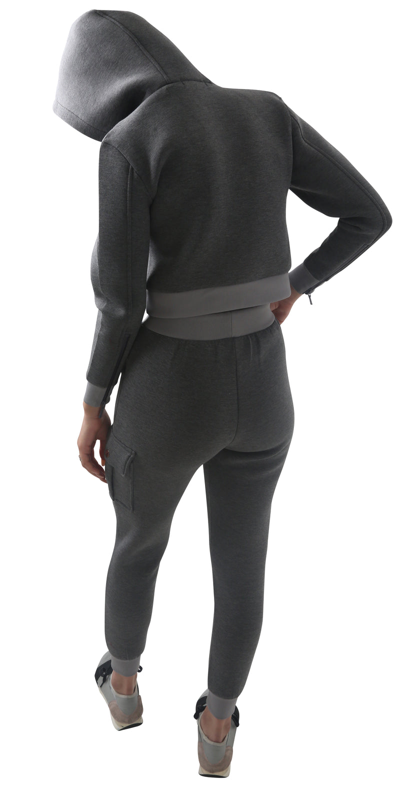 Women Grey Space Cotton with White Stripe Full Tracksuit