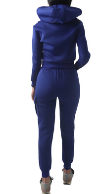 Women Blue Space Cotton with White Stripe Full Tracksuit
