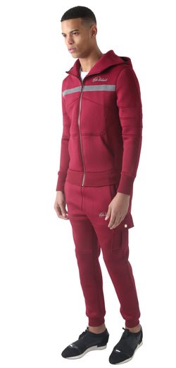 Men Burgundy Space Cotton without white stripe Full Tracksuit