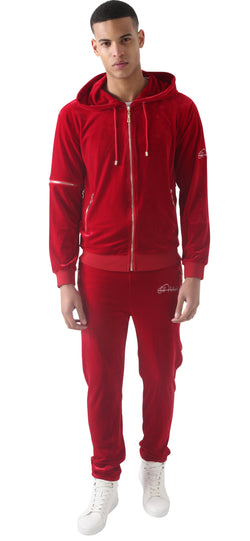 Men's Red Vélvét Full Tracksuit