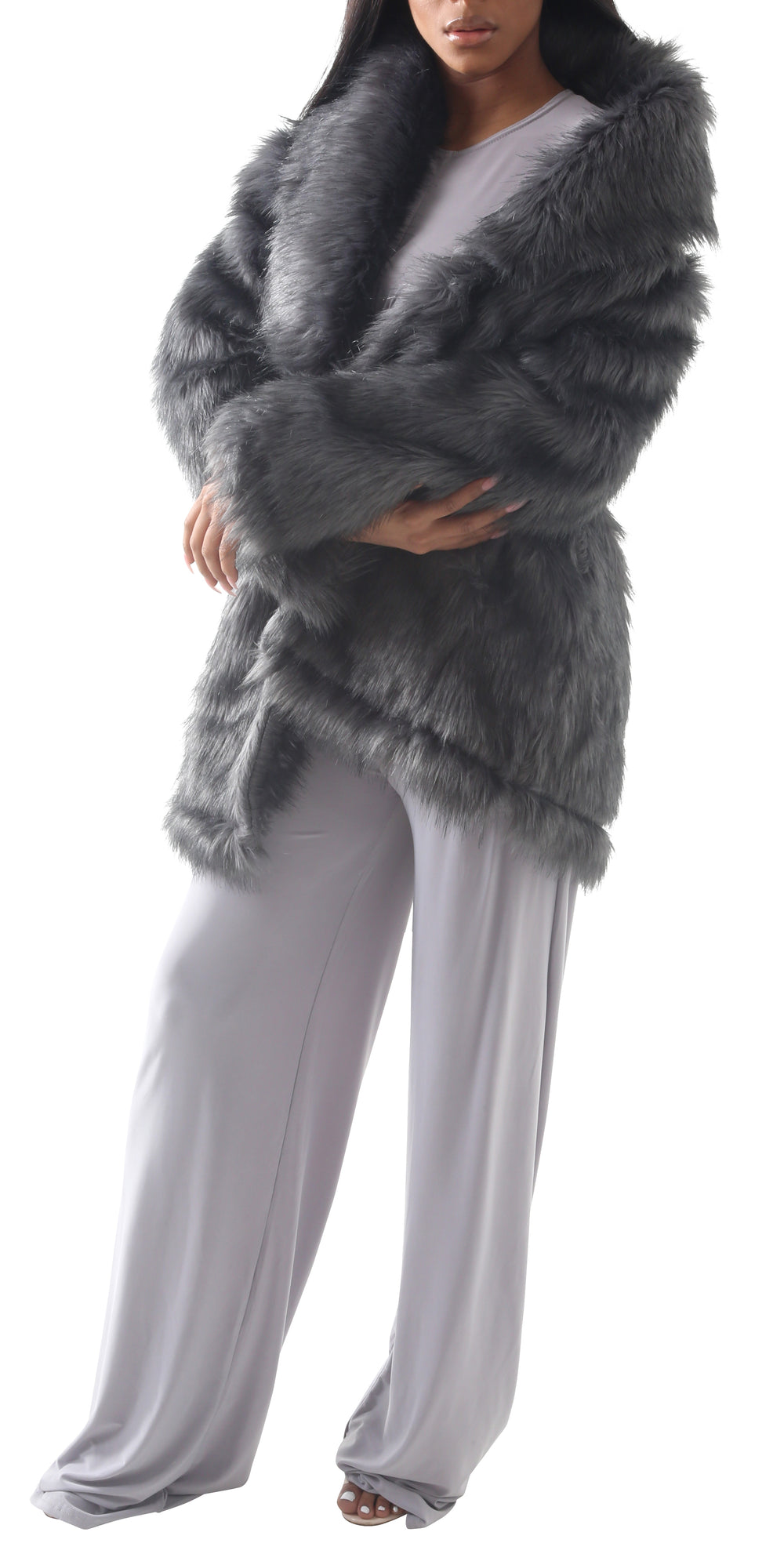 Women SIZA Silver Full Faux Jacket