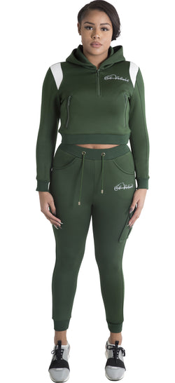 Women Jungle Green Space Cotton with White Stripe Full Tracksuit