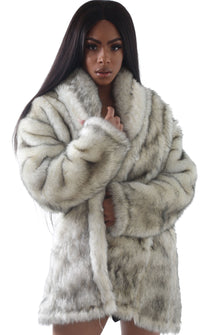 Women Alaska Wolf Faux Mid Trench Jacket
