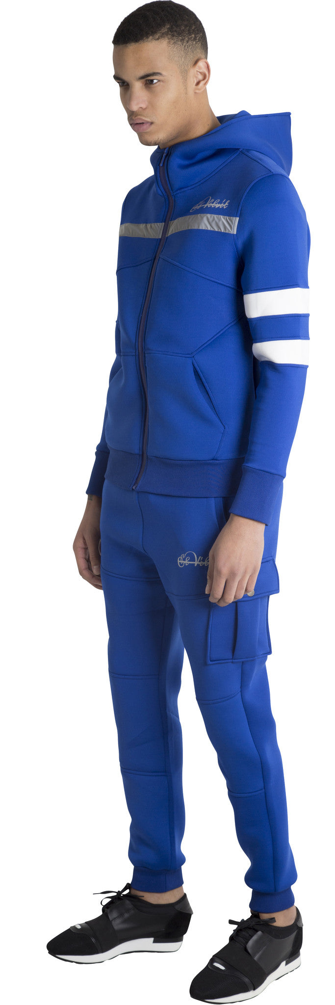 Men Blue Space Cotton with White Stripe Full Tracksuit