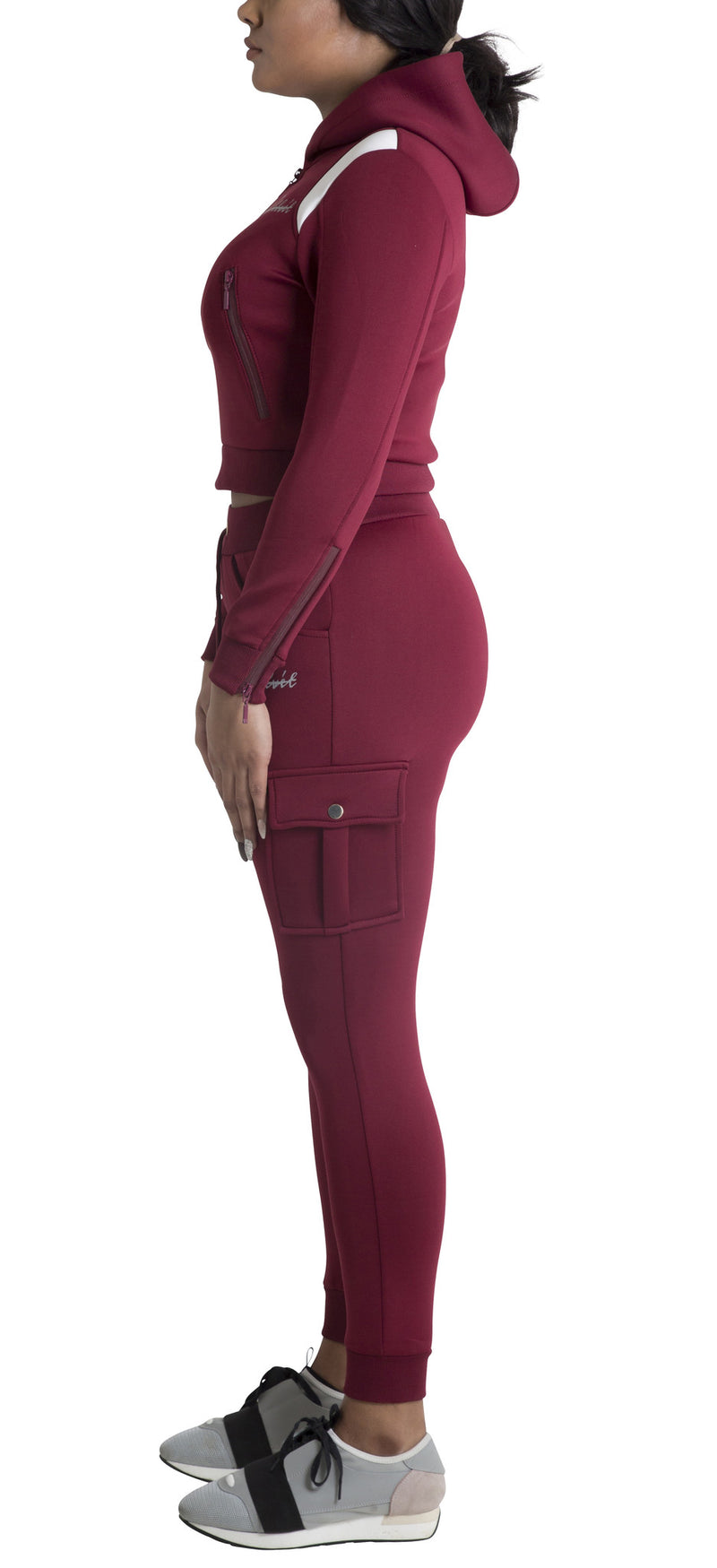 Women Burgundy Space Cotton without White Stripe Full Tracksuit