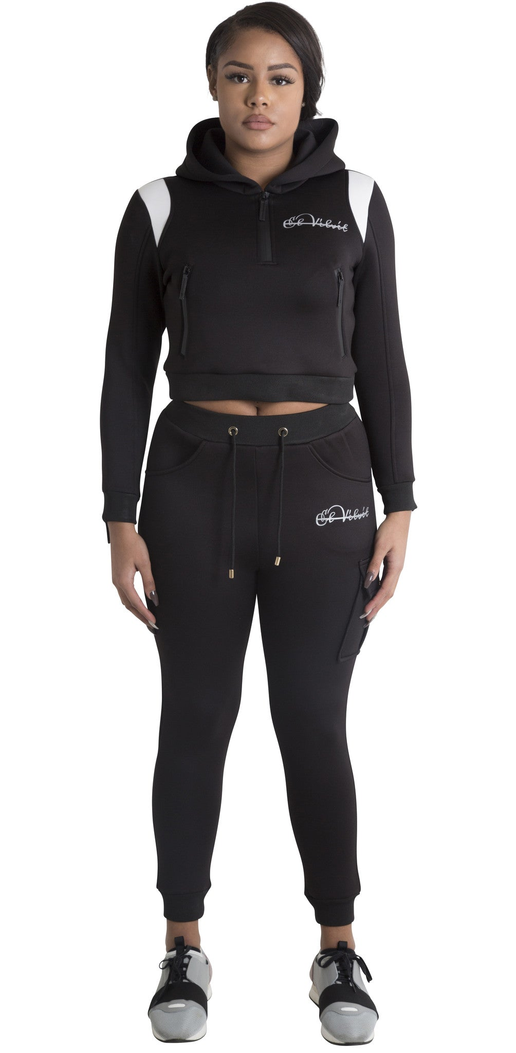 Women Black Space Cotton with White Stripe Full Tracksuit