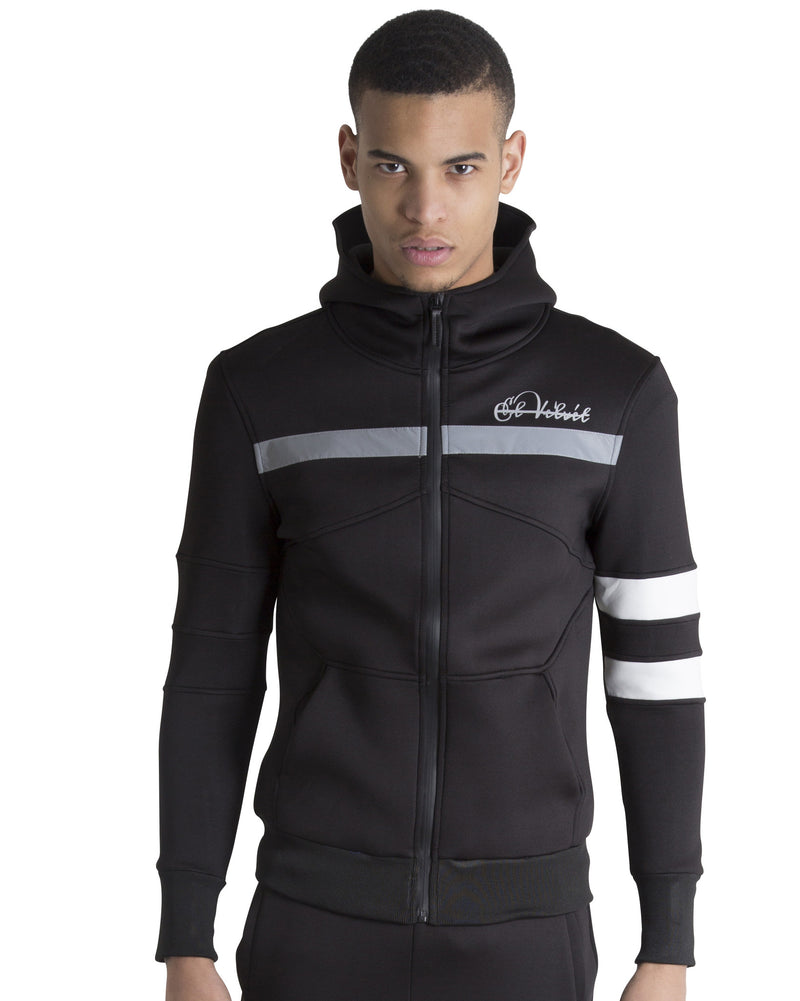 Men Black Space Cotton with White Stripe Full Tracksuit