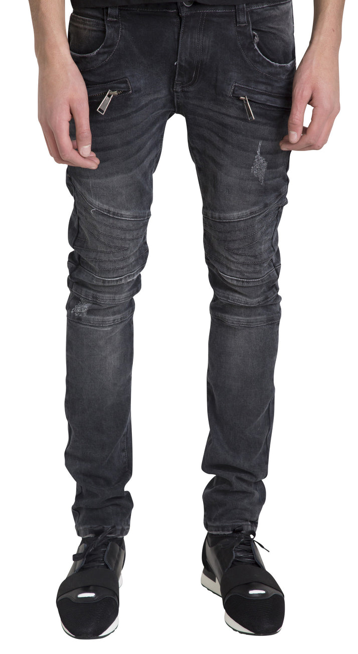 Mid Washed Black Biker Jeans