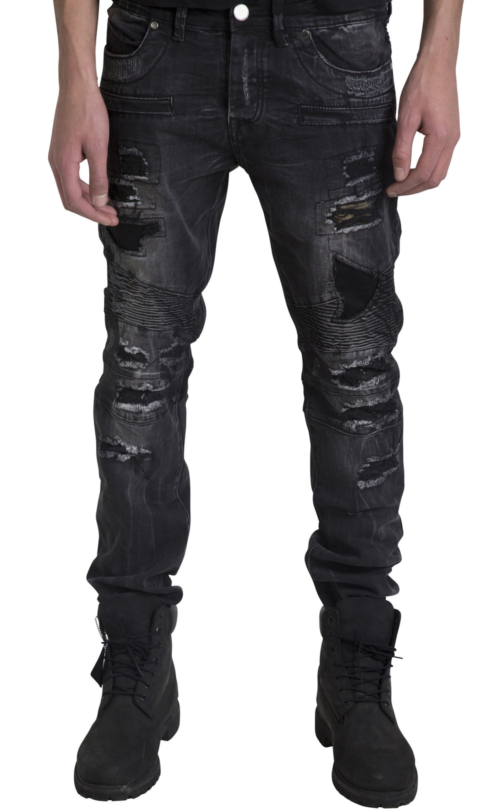 Black Rock Washed Distressed Biker Jeans