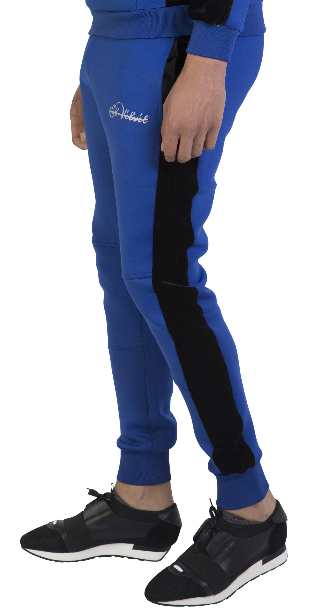 Blue & Black Velour Panel Full Tracksuit
