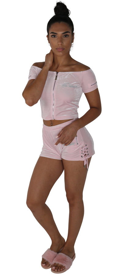 Women's Candy Pink  Vélvét Summer Full Set