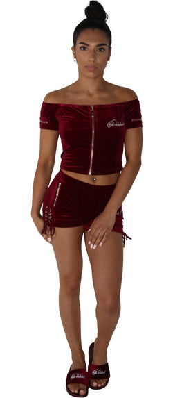 PRE-ORDER Women's Burgundy Vélvét Summer Full Set