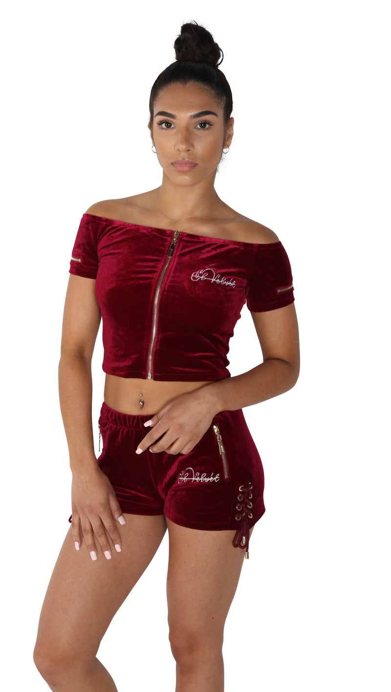 Women's Burgundy Vélvét Summer Full Set
