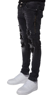 Ribbed Rundown Distressed Jeans