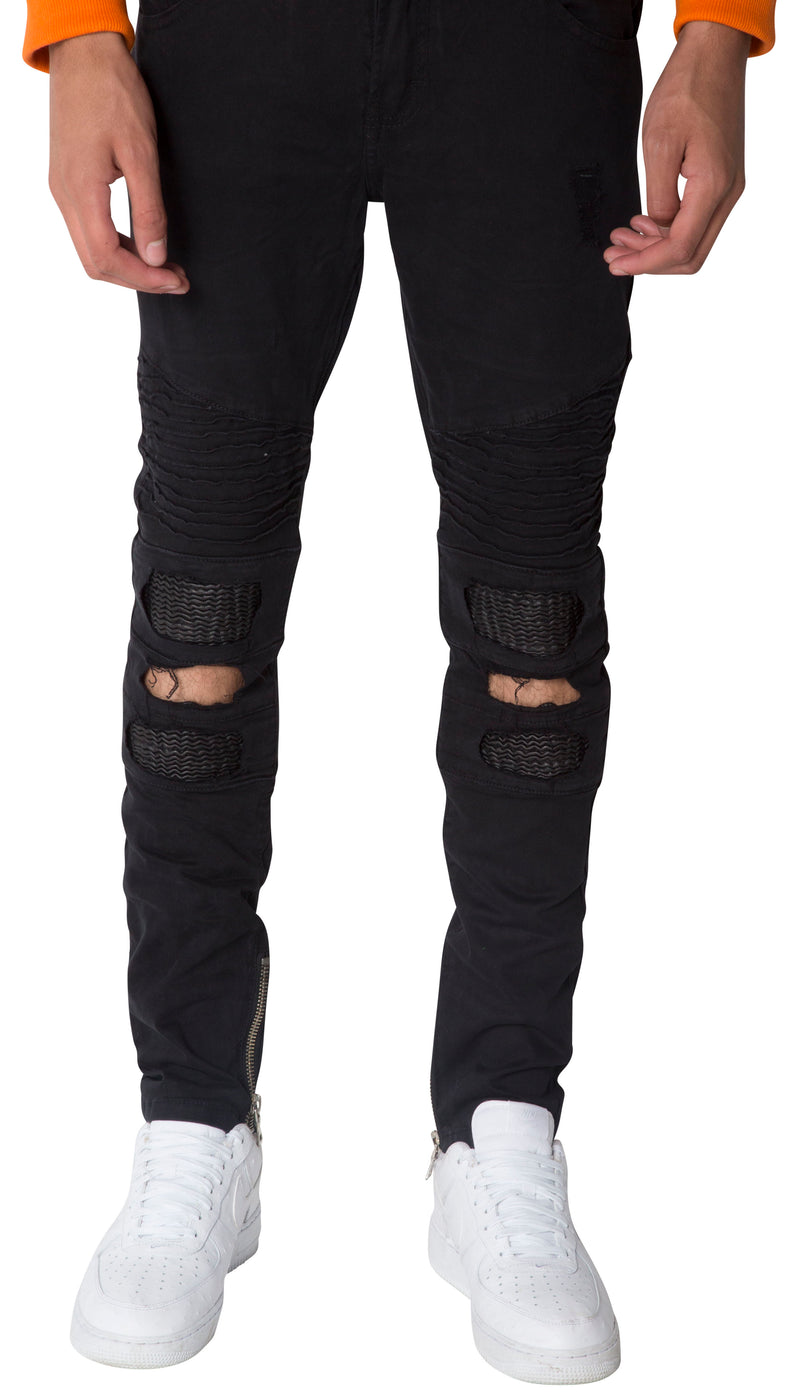 Black Roadrail KneeSlit Biker Jeans