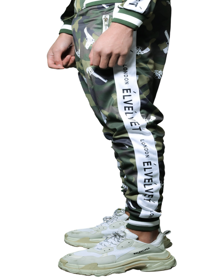 M/GREEN STRAPPED TrackPants