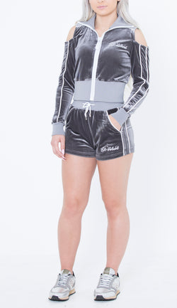 Women's Lined LON Grey Velvet Summer Full Set