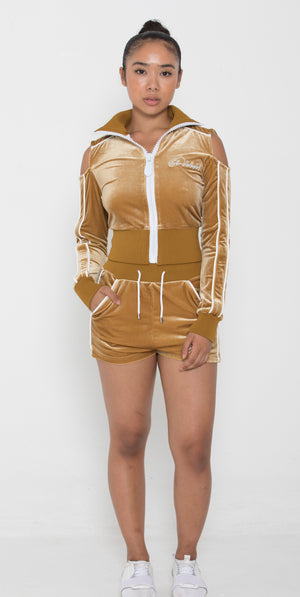 Women's Lined LON Gold Velvet Summer Full Set