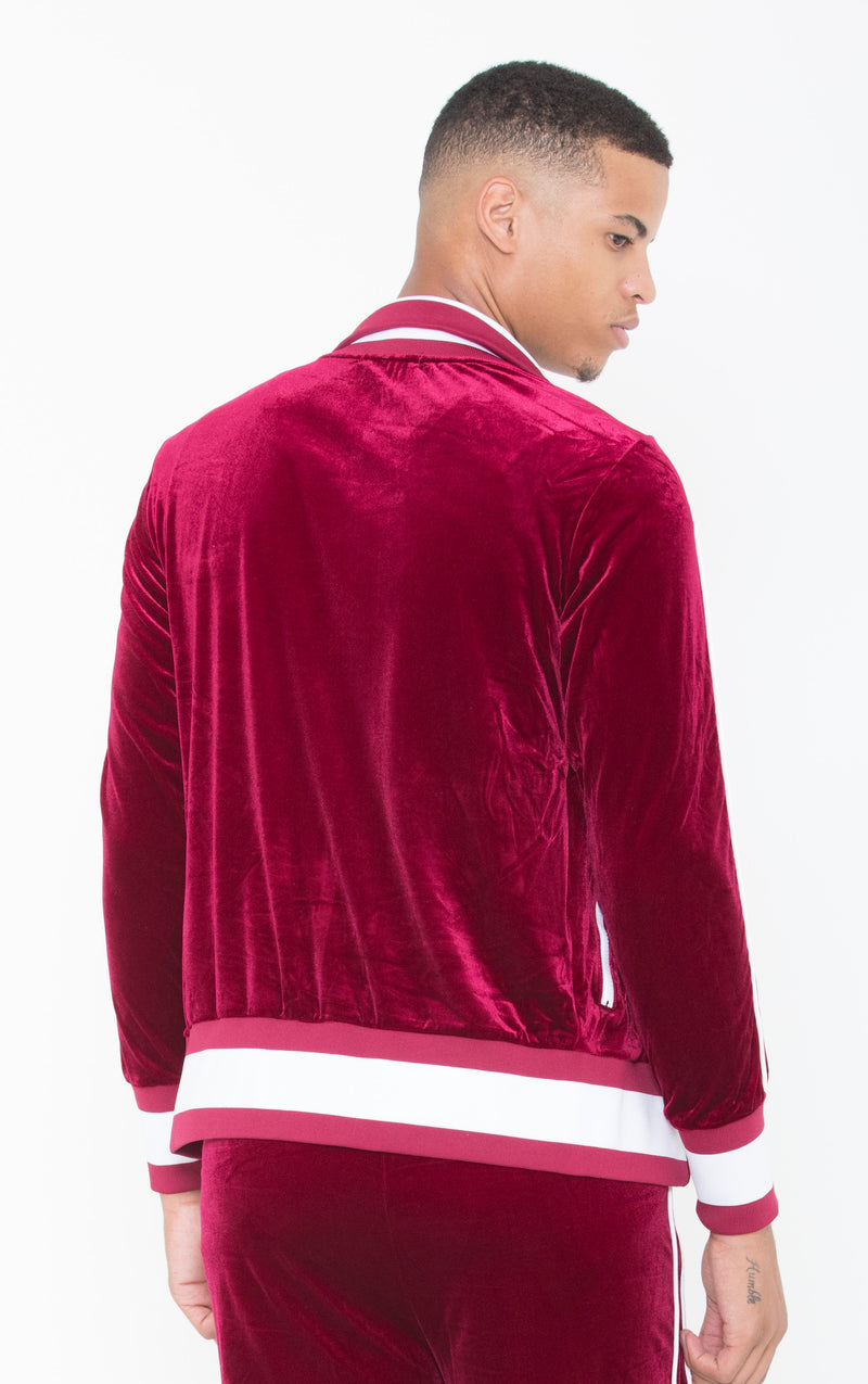 Collar Sweat Top Lined LON Burgundy