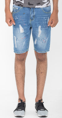Distressed Storm Blue Shorts