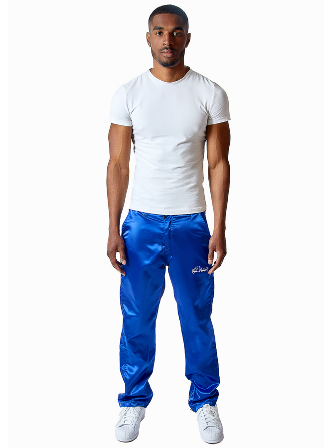 M/BLUE STRAPPED Silk Pants
