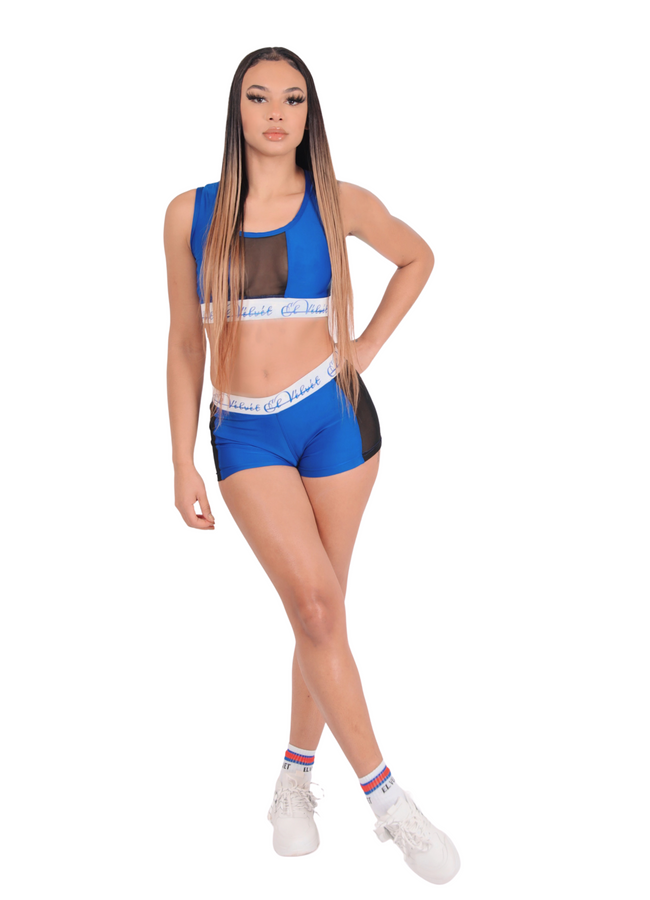 Blue Ly Mesh Bralet Set / Shorts